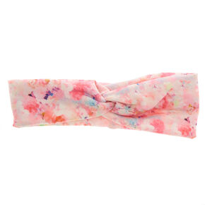 Pink Floral Wide Jersey Headwrap,