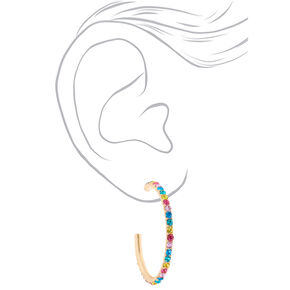 Gold 40MM Rainbow Hoop Earrings,