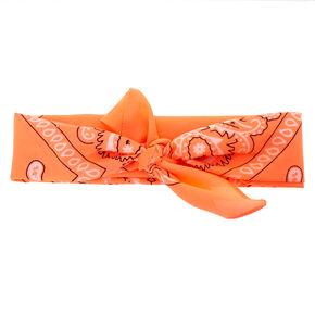 Neon Coral Bandana Headwrap,
