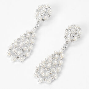 Pearls, Crystals, Gold & Silver Studs with Front & Back Earrings Set of 6,
