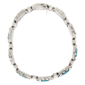 Silver Medallion Stretch Bracelet - Turquoise,