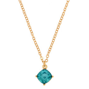 December Birthstone Pendant Necklace - Blue Zircon,