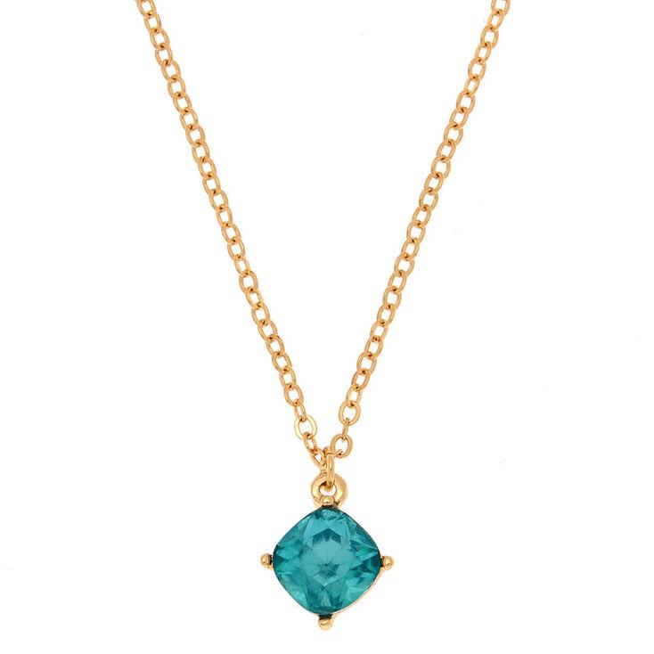 December Birthstone Pendant Necklace - Blue Zircon,