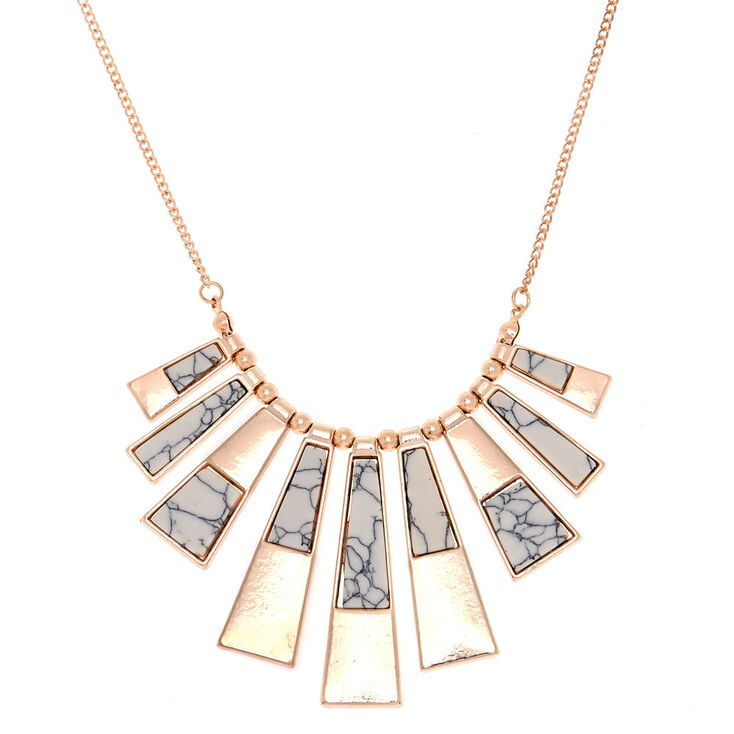Gold Marble Bar Statement Necklace,