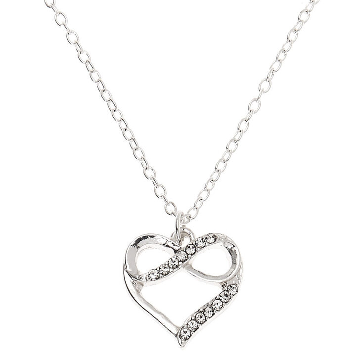 Silver Embellished Infinity Heart Pendant Necklace,