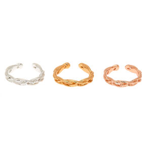 Mixed Metal Braided Toe Rings - 3 Pack,