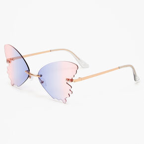 Gold Purple & Pink Ombre Butterfly Sunglasses,