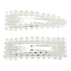 Silver Pearl Mixed Snap Clips - 2 Pack,