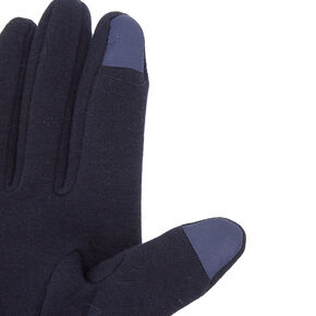 Pom Pom Knit Fashion Gloves - Navy,