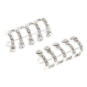 "Silver 1"" Crystal Hoop Ear Crawler Earrings,"