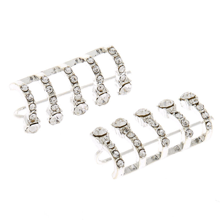 """Silver 1"""" Crystal Hoop Ear Crawler Earrings,"""