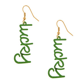 Green Lucky Dangle Earrings,