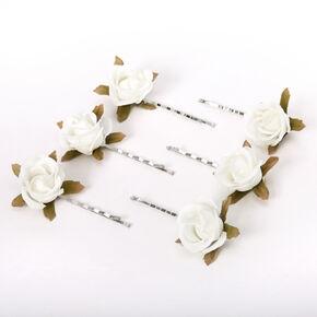 Rose Flower Hair Pins - Ivory, 6 Pack,