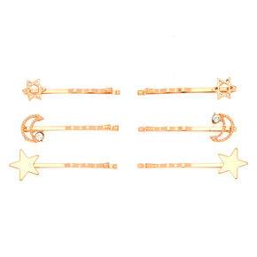 Rose Gold Celestial Hair Pins - 6 Pack,