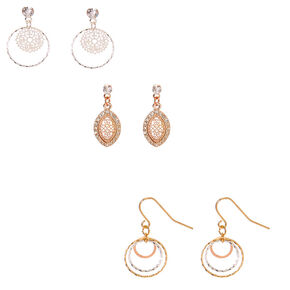 "Mixed Metal 1"" Filigree Drop Earrings - 3 Pack,"