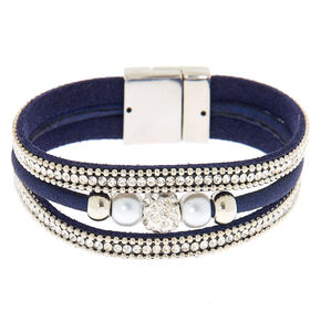 Embellished Fireball Wrap Bracelet - Navy,