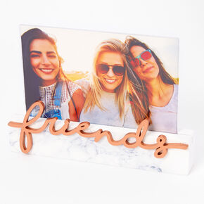 Rose Gold Friends Marbled Photo Frame - White,