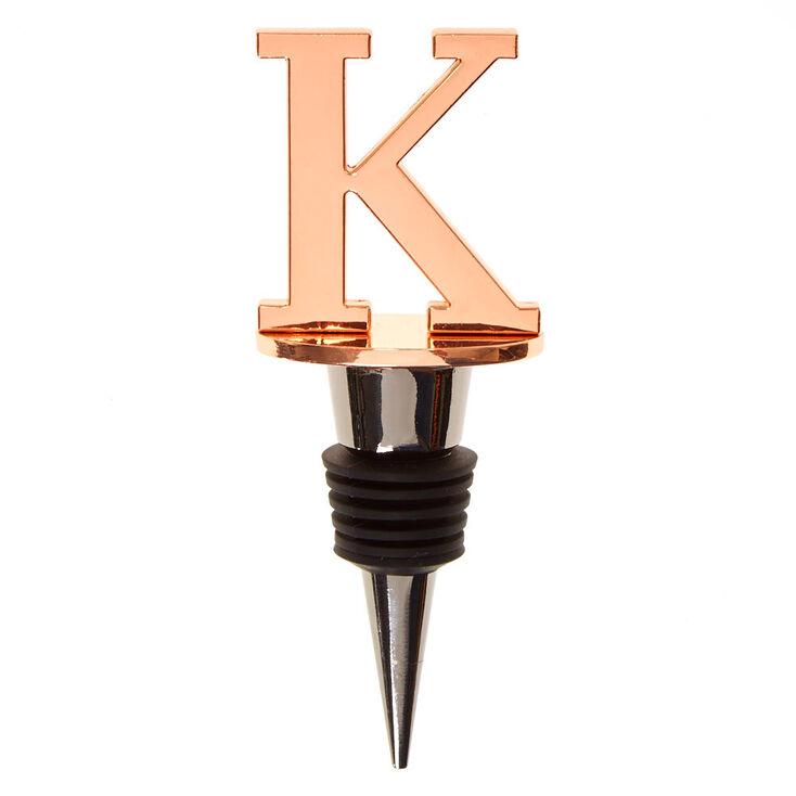 """Metallic Monogram Letter """"K"""" Wine Stopper,"""