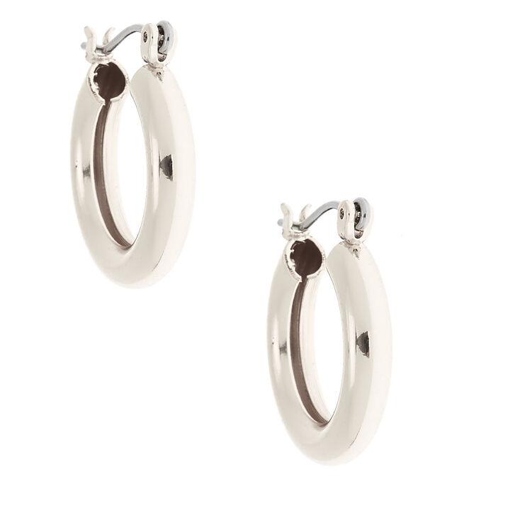 Silver 20MM Tube Hoop Earrings,