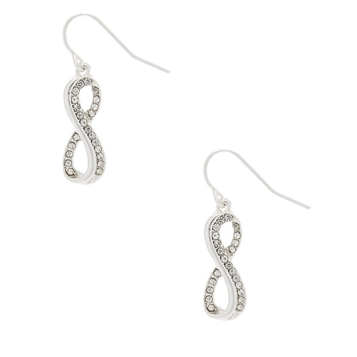 "Silver 1"" Inifity Drop Earrings,"