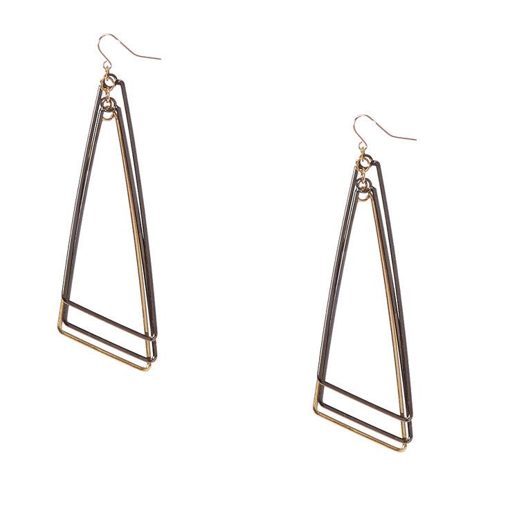Mixed Metal Triple Triangle Drop Earrings,