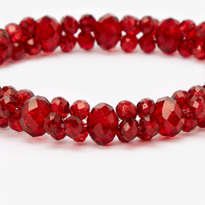 Faceted Beaded Stretch Bracelet - Red,