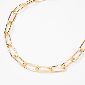 Gold Paperclip Link Chain Necklace,