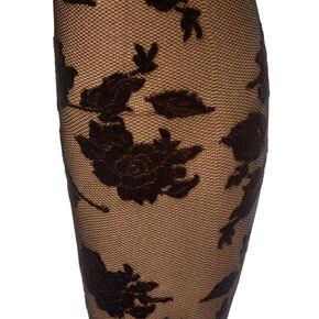 Velvet Floral Over the Knee Socks - Black,