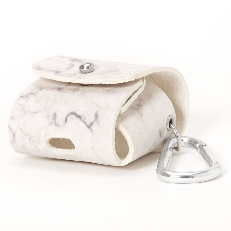 White Marble Earbud Pouch Case Cover - Compatible With Apple AirPods,