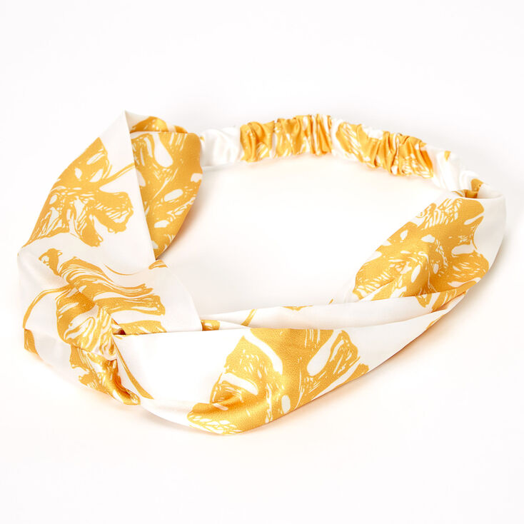 Yellow Leaf Twisted Headwrap - White,