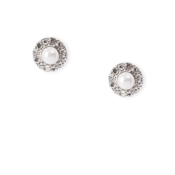 Pearl & Pavé Rhinestone Circles Stud Earrings,