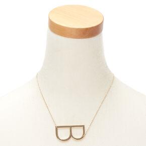 Oversized Initial Pendant Necklace - B,