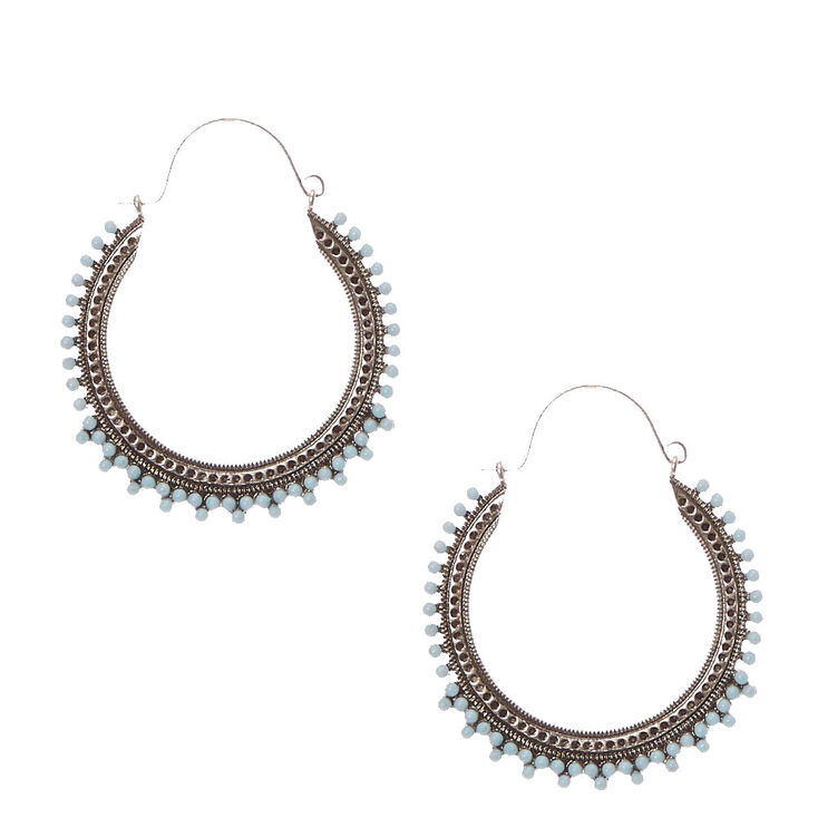 Antique Silver & Round Turquoise Stone Hoop Earrings,
