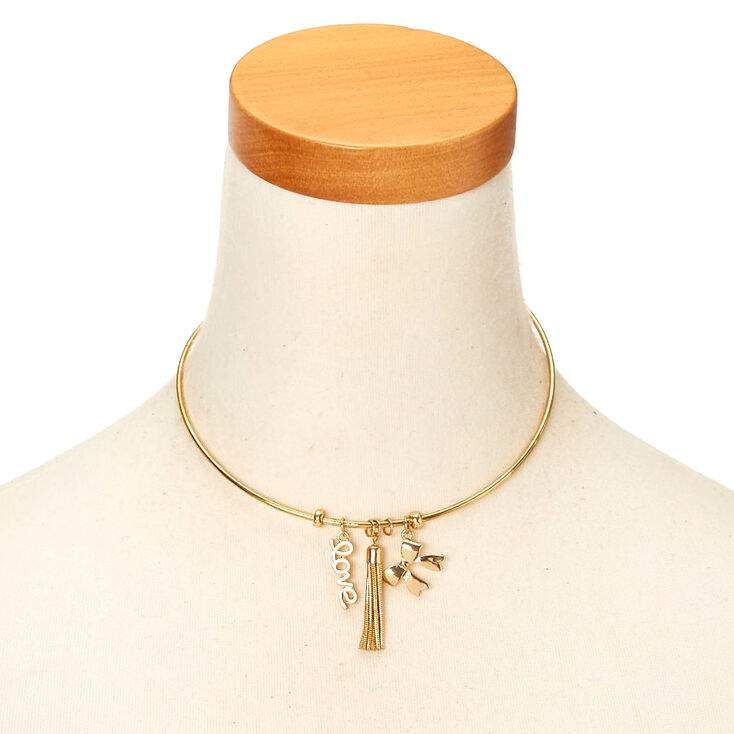 Gold-Tone Love Charm Metal Choker Necklace,