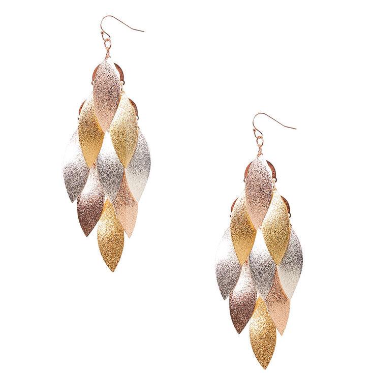 Shimmery Leaf Drop Earrings,