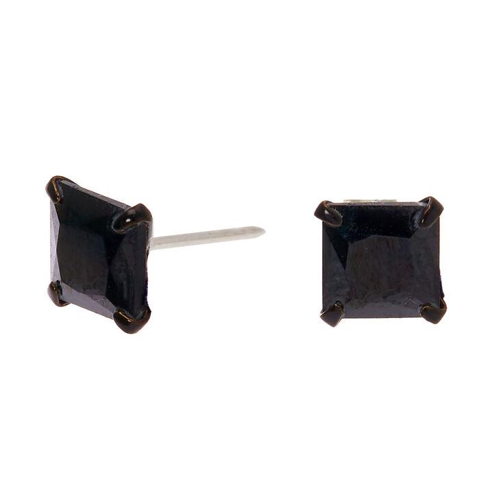 Sterling Silver Cubic Zirconia Hematite 5MM Square Stud Earrings - Black,