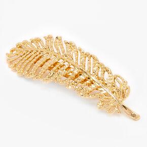 Gold Palm Leaf Hair Barrette,
