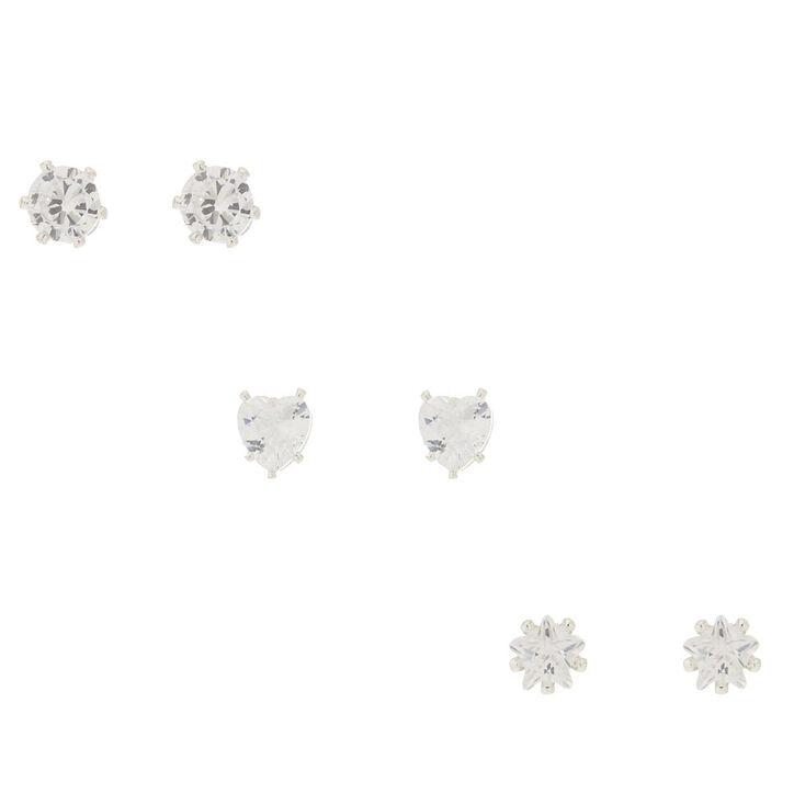 3 Pack Cubic Zirconia Shaped Stud Earrings,