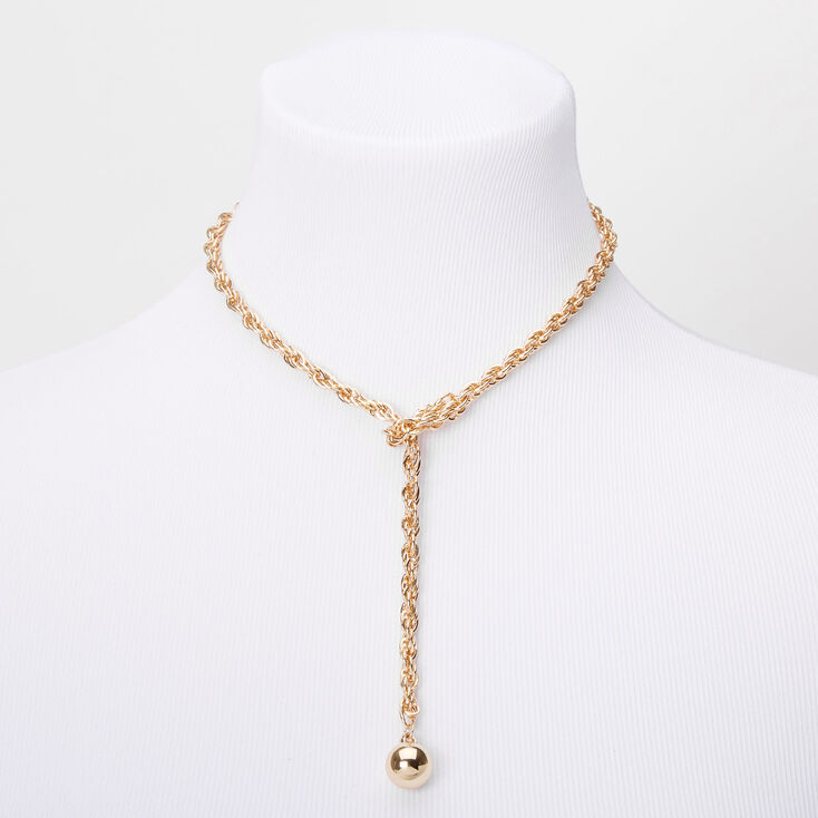 Gold Braided Bolo Tie Chain Necklace,