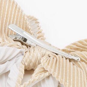 Pleated Sequin Hair Bow Clip - Gold,