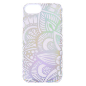 White Holographic Mandala Protective Phone Case - Fits iPhone X/XS,