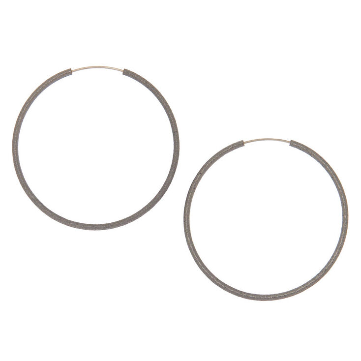 Hematite Hoop Earrings - 40MM,