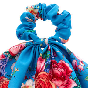 Rose Draped Scarf Hair Scrunchie - Blue,