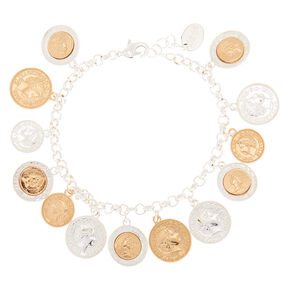 Mixed Metal Coin Charm Bracelet,