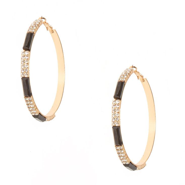 Black & Crystal Striped Gold Tone Hoop Earrings,