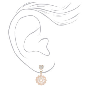 Rose Gold Stud Earrings - 9 Pack,