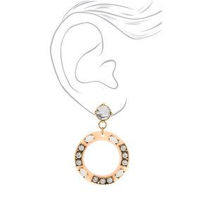 "2"" Circle Drop Earrings - Blush,"