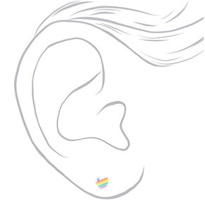 Sterling Silver Rainbow Heart Stud Earrings - White,