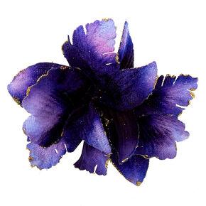 Velvet Glitter Flower Hair Clip - Navy,