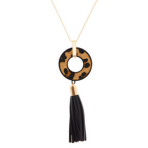 Leopard Tassel Long Pendant Necklace,